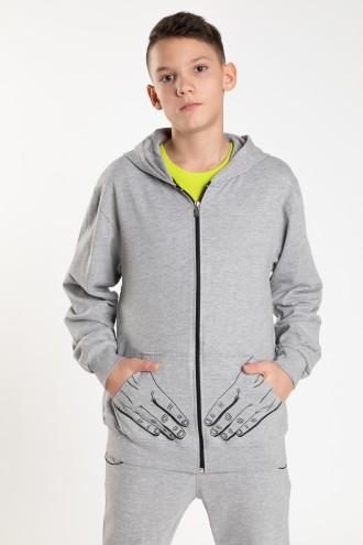 Szara rozpinana bluza z kapturem dla chłopaka