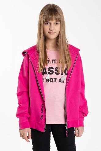 Różowa rozpinana bluza z kapturem dla dziewczyny