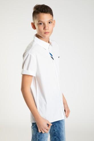 Koszula z krótkim rękawkiem z ozdobnym przeszyciem dla chłopaka