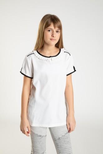 Biały elegancki T-shirt z czarnymi obszyciami dla dziewczyny