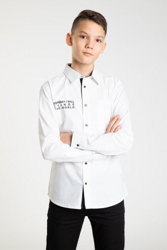 Elegancka biała koszula z nadrukami dla chłopaka