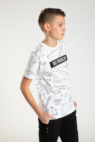 Biały T-shirt MATH