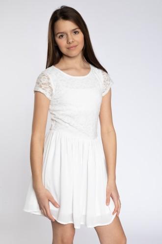 Biała sukienka z krótkim rękawem z koronki