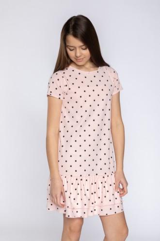 Bladoróżowa sukienka w kropki z falbaną