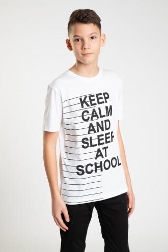 Biały T-shirt dla chłopaka KEEP CALM