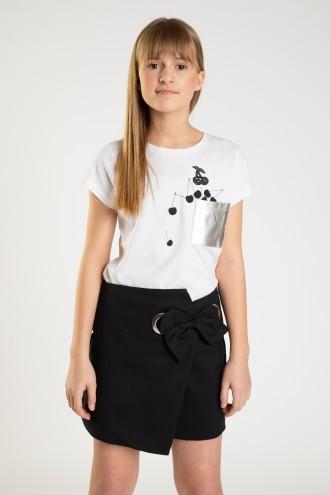 Biały T-shirt ze srebrną kieszonką CHERRY