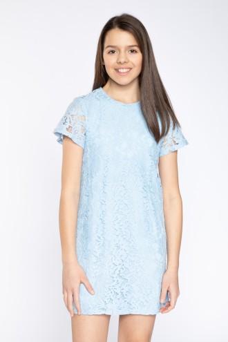 Elegancka, niebieska sukienka z koronki