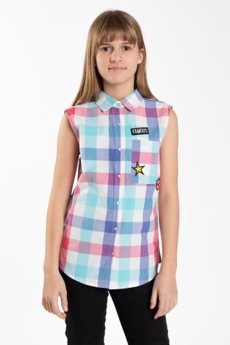 Koszula w kratkę bez rękawów z aplikacjami dla dziewczyny