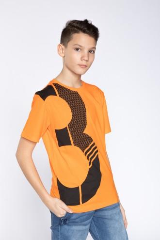 Pomarańczowy T-shirt dla chłopaka THREE