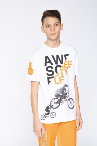 Biały T-shirt dla chłopaka AWSOME