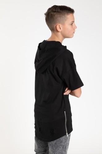 Czarny przedłużany T-shirt z kapturem dla chłopaka