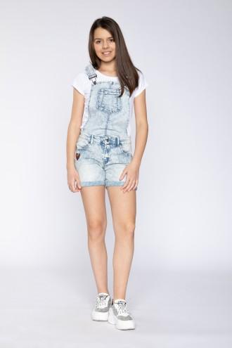 Krótkie jeansowe ogrodniczki