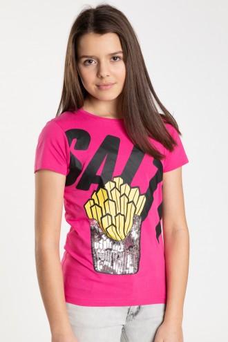 Różowy T-shirt z krótkim rękawem SALTY