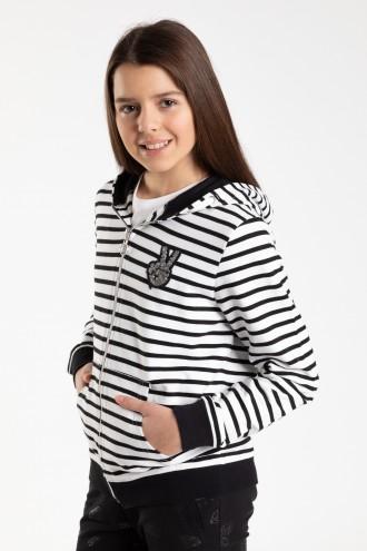 Bluza w paski z kapturem dla dziewczyny