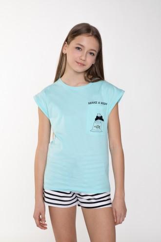 Błękitny T-shirt z krótkim rękawem dla dziewczyny WISH
