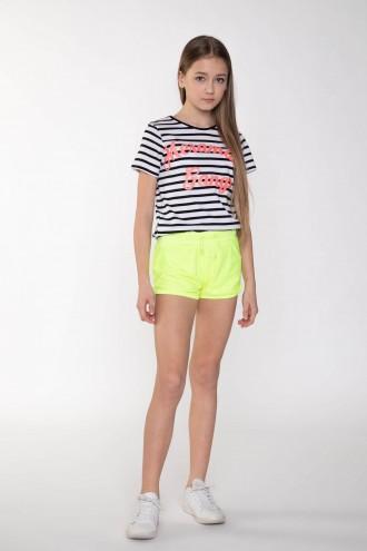 Neonowe ozdobne szorty dla dziewczyny