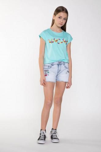 Jeansowe szorty z naszywkami dla dziewczyny