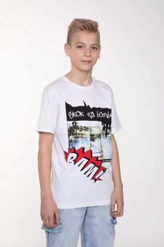 Biały T-shirt z nadrukiem dla chłopaka BAM