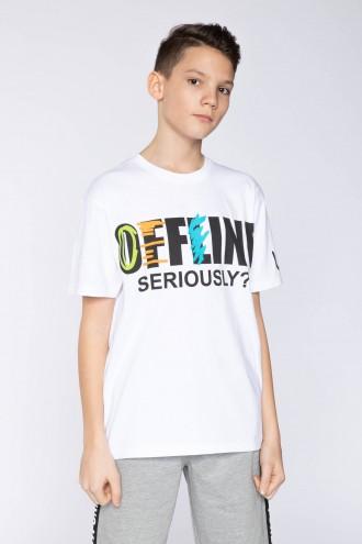 Biały T-shirt z nadrukiem OFFLINE