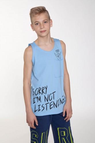 Niebieski T-shirt bez rękawów