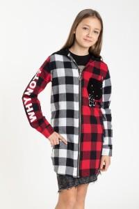 Przedłużana koszula w kratę z kapturem dla dziewczyny