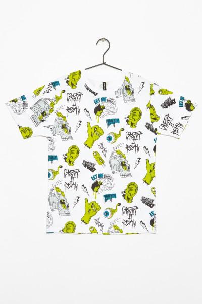 Biały T-shirt we wzory dla chłopaka MONSTERS