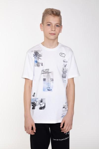 Biały T-shirt z nadrukiem SUMMER