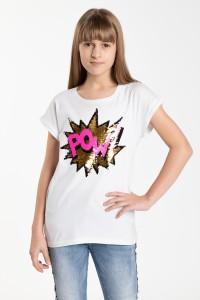 Biały T-shirt dla dziewczyny z odwracalnymi cekinami POW!