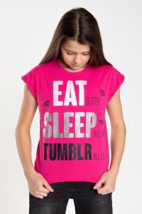 Dziewczęcy różowy T-shirt z napisami DANCE