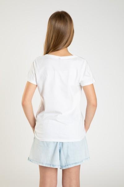 Biały T-shirt dla dziewczyny WISHES