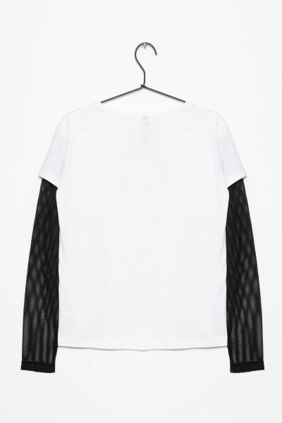 Biała bluzka z ozdobnym rękawem ROAR