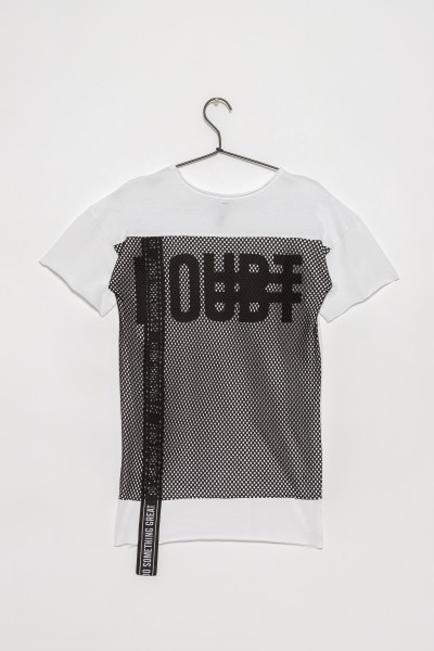 Biały T-shirt z siatką z tyłu dla chłopaka BASIC