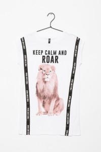Przedłużany biały T-shirt dla dziewczyny KEEP CALM