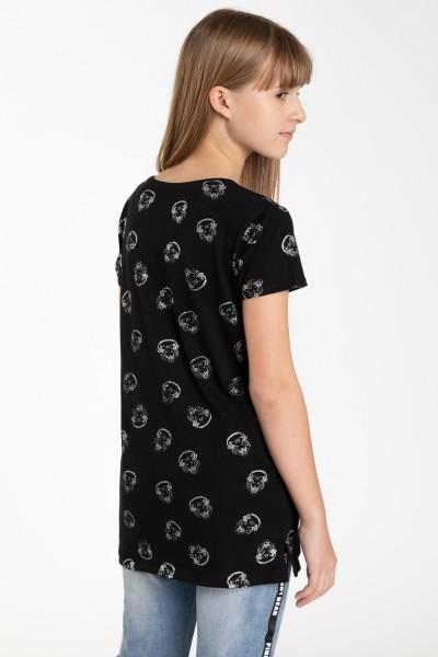 Czarny przedłużany T-shirt dla dziewczyny N'1