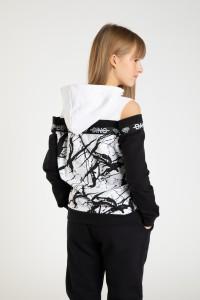 Dziewczęca bluza cold shoulders z kapturem