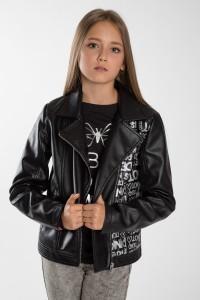 Czarna ramoneska z ozdobnymi napisami dla dziewczyny