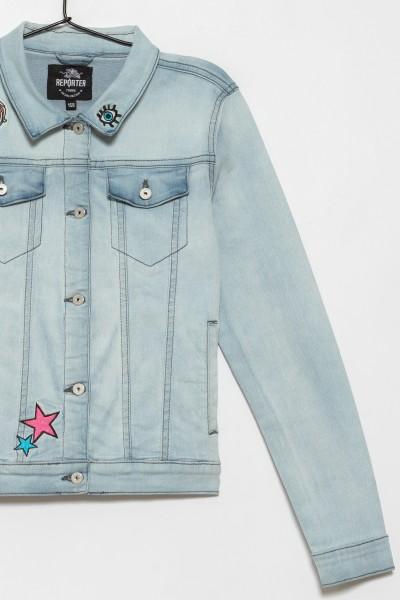 Jeansowa katana z naszywkami dla dziewczyny