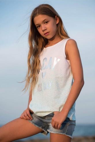 Biało-różowy T-shirt dla dziewczyny