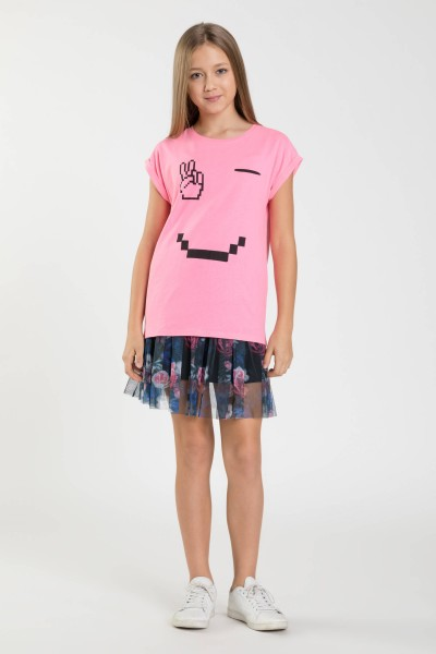 Różowy T-shirt EMOTIKON