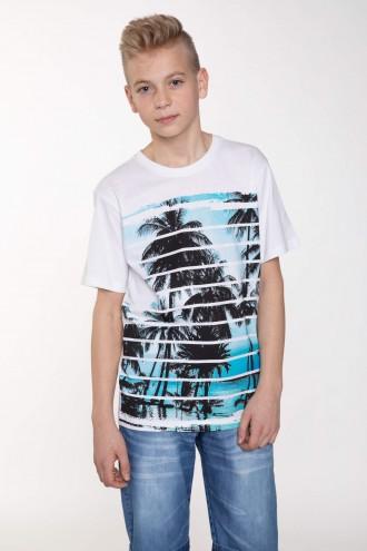 Biały T-shirt z wakacyjnym nadrukiem dla chłopaka