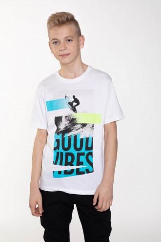 Biały T-shirt dla chłopaka GOOD VIBES