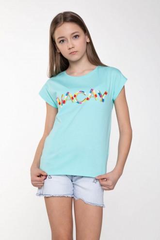 Błękitny T-shirt dla dziewczyny VACAY