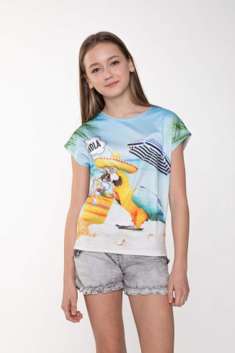 T-shirt dla dziewczyny z nadrukiem HOLA!