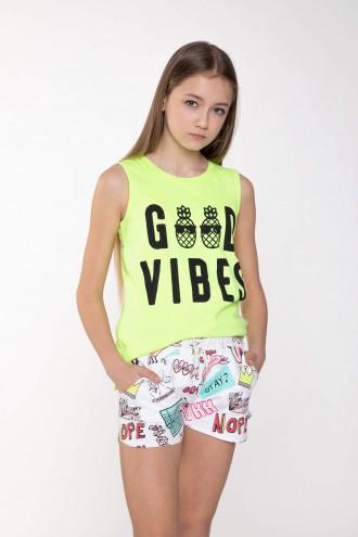 Neonowy T-shirt dla dziewczyny GOOD VIBES
