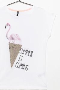 Dziewczęcy T-shirt z nadrukiem z odwracalnymi cekinami White Flamingo