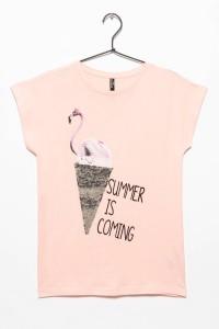 Dziewczęcy T-shirt z nadrukiem z odwracalnymi cekinami Pink Flamingo