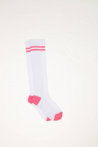 Biało-różowe podkolanówki