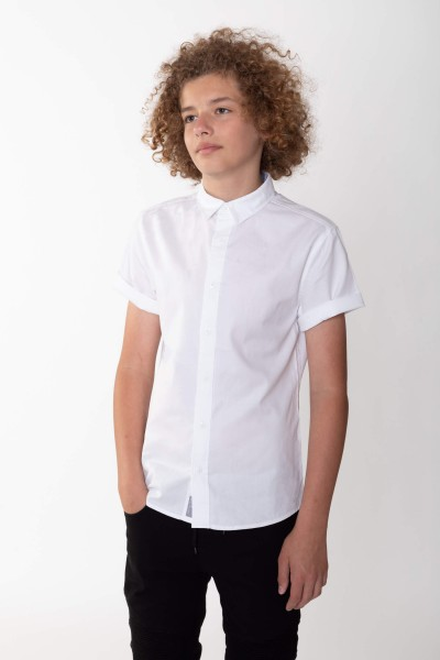 Koszula dla chłopaka z krótkim rękawem, biała | Sklep