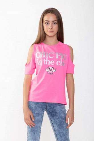 Różowy T-shirt cold shoulders CHIC PIG