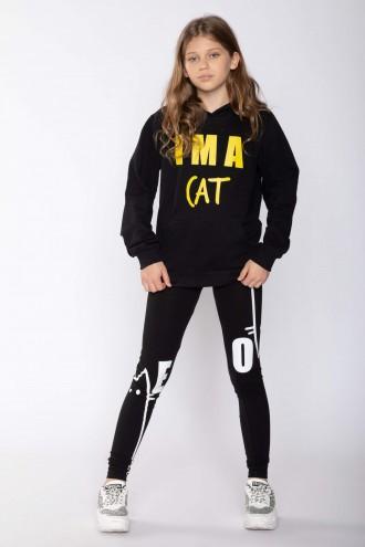 Czarne legginsy z nadrukami CAT